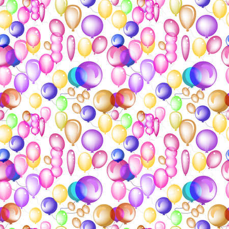 Seamless Pattern of 3d Vector Transparent Party Balloon Icons. Endless Texture or Backdrop with Colored Balloons On White Background