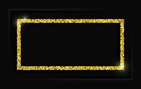 Gold square vintage frame with shadow on black background. Golden luxury rectangular border - realistic vector illustration