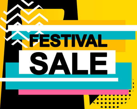 Sale poster with FESTIVAL SALE text or advertising banner template. Big discount special offer vector illustration