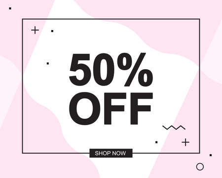 Sale poster with 50 PERCENT OFF text or advertising banner template. Big discount special offer vector illustration
