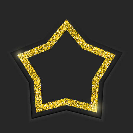 Gold star vintage frame with shadow on black background. Golden luxury border with glitters - realistic 3d vector illustration 스톡 콘텐츠