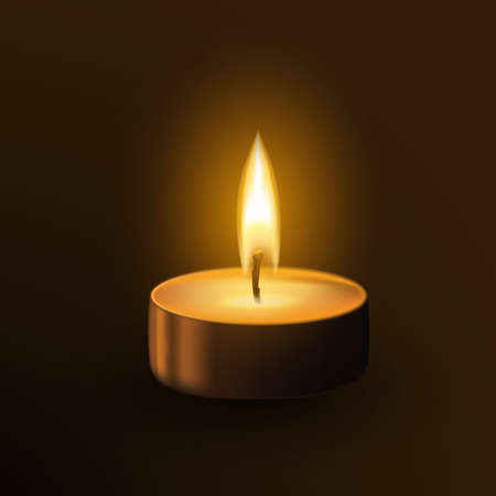 One small burning candle tealamp isolated on dark background. Memorial flame realistic 3d vector illustration