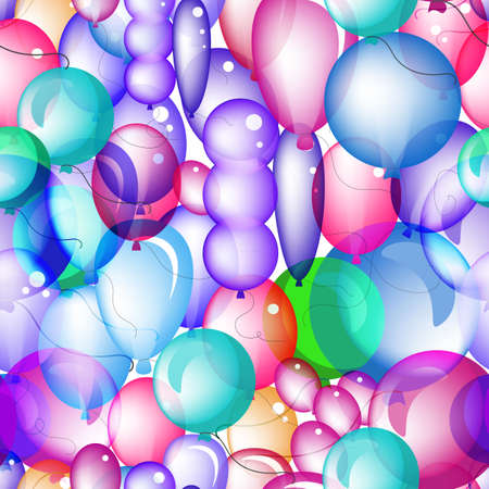 Seamless Pattern of 3d Vector Transparent Party Balloon Icons. Endless Texture or Backdrop with Colored Balloons On White Background 스톡 콘텐츠 - 130736415