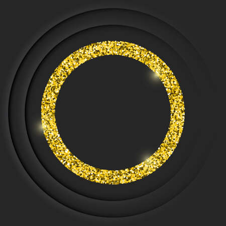 Gold round vintage frame with shadow on black background. Golden luxury 3d vector border with glitters - realistic vector illustration