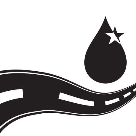 Mechanic oil or car engine oil vector icon. Shining black drop of car lubricant logo with speed road on white background 스톡 콘텐츠