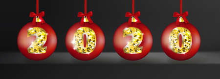 Realistic 3d Vector Christmas Balls with Golden 2020 Numbers on Transparent Background. Red and Gold Shining Xmas Baubles for New Year Decorations