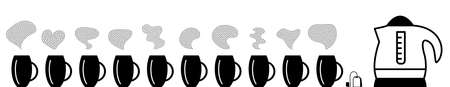 Collection of hot drinks icon with steam symbols isolated. Steaming beverage pictograms with different waves