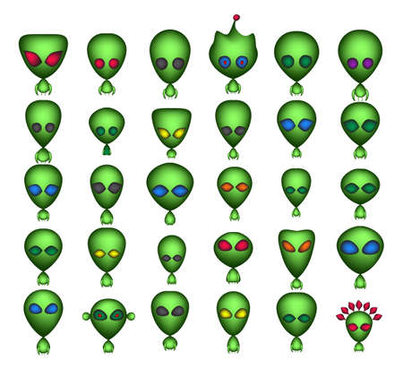 Little Green Man or Cartoon Aliens 3d Vector Icon. Eextraterrestrial Alien Avatars or Characters Collection Isolated on White Background