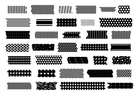 Mini washi tape strips or washy tape icons. Collection of decorative adhesive strips or masking tape isolated on white background