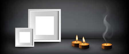 Several burning candles or worship candle with empty frames on dark background. Memorial flame realistic 3d vector illustration 스톡 콘텐츠