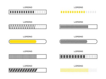 Téléchargez l'illustration de la progression. Collection d'icônes de barre de chargement. Ensemble de symboles vectoriels de vitesse de téléchargement isolés