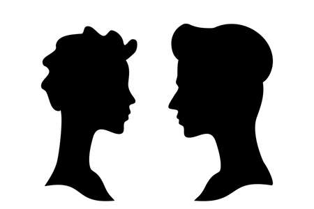 Man and woman side profile head silhouettes, couple therapy or psychotherapy concept. Face to face profiles, portraits or black and white cameo vector icons
