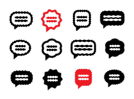Vibrant Speech Bubble or Message Symbol Vector Icon Collection. Set of Thought Bubbles, Messages or Communication Signs