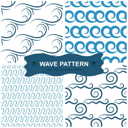 Wave seamless vector pattern or hand drawn blue modern backgrounds with sea waves. Ocean endless icon pattern isolated on white