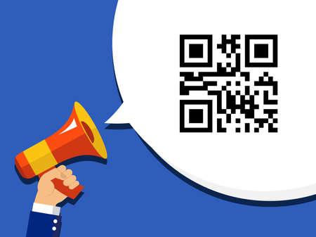 Hand holding megaphone with QR code encoded SALE information in bubble speech. Flat vector icon on pop art background