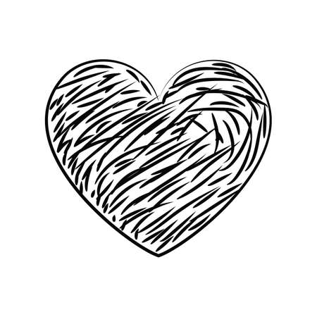 Black and white vector heart icon isolated on white background, hand drawn imitation. Simple love sign or logo concept