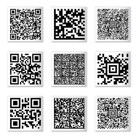 QR vector codes collection on paper strops without any sensitive information with a random set of characters