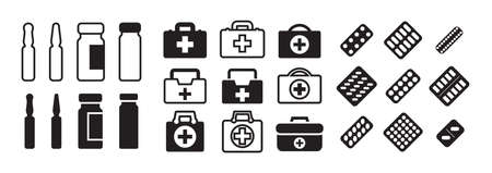 Set of medicine icons with pills, ampoules and medical bags. Medical kit, rescue bag or paramedic kit with medications icon