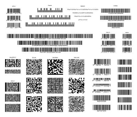 Barcode collection with a random set of characters. QR vector code information, code bar set, store scan codes, industrial coding icons