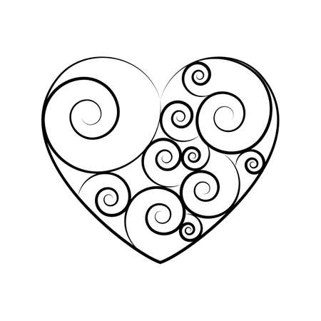 Black and white vector heart icon isolated on white background. Simple love sign concept 일러스트