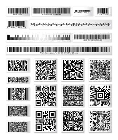 Barcode collection on paper strops with a random set of characters. QR vector code information, code bar set, store scan codes, industrial coding icons