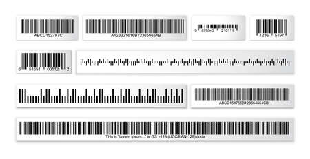 Barcode collection on paper strops without any sensitive information with a random set of characters. QR vector codes isolated