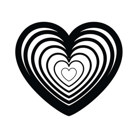Black and white striped vector heart icon isolated on white background. Simple love sign  concept 일러스트