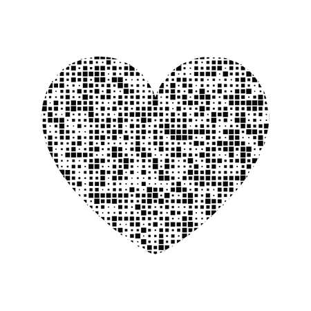 Black and white vector heart icon isolated on white background. Simple love sign  concept