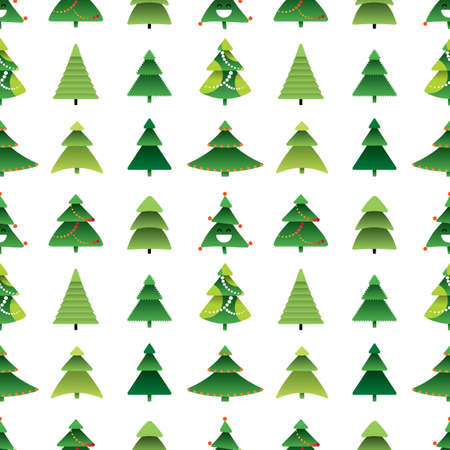 Merry dancing Christmas tree vector seamless pattern in modern cartoon style isolated. Happy Xmas spruce or new year pines holiday silhouettes and shapes illustration