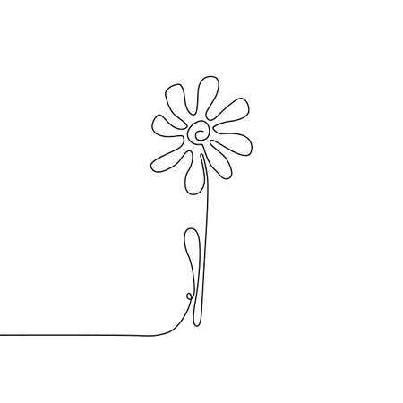 Continuous thin line flower vector illustration, minimalist botanical sketch doodle. One line art flowering blossom icon, single floral outline drawing or simple daisy