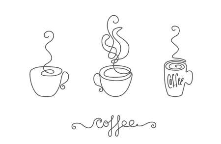 Continuous thin line coffee cup with smoke vector illustration, minimalist sketch doodle for cafe. One line teacup art icon, single tea bowl outline drawing or unbroken simple hot drink mug