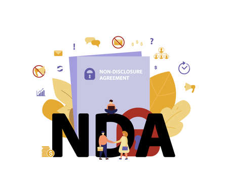NDA or non-disclosure agreement contract, legal restrictions concept. Nondisclosure or know-how protection cartoon flat vector illustration with tiny people