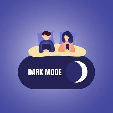 Dark night mode or darkmode vector concept. Cartoon couple in bed with phones. Phone, internet and social media addiction flat illustration