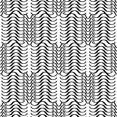 Wave seamless vector pattern or hand drawn monochrome modern background. Wave endless icon pattern isolated on white Stock Illustratie