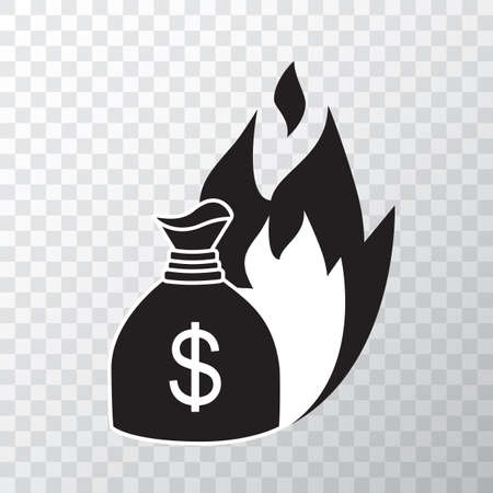 Fire money vector icon, burn cash illustration isolated on white background. Burning dollar sign, flame money bag or symbol