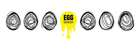 Set of hand drawn continuous thin line egg borders. Minimalist lined borders collection in egg shape. Sketch doodle frames vector illustration