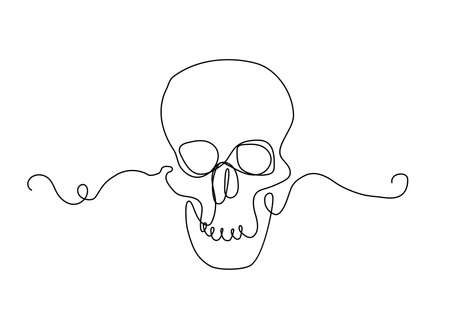 Continuous thin line human skull vector illustration, minimalist cranium sketch doodle. One line art scull icon, single outline drawing or simple skull Illustration