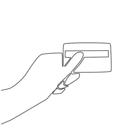 Continuous thin line credit card in hand vector illustration, minimalist bank card sketch doodle. One line art bankcard icon, single outline drawing or simple debit card