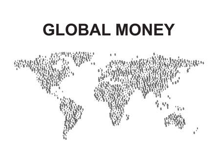 World map made of dollar signs, simple vector illustration. Main world currency concept, global money
