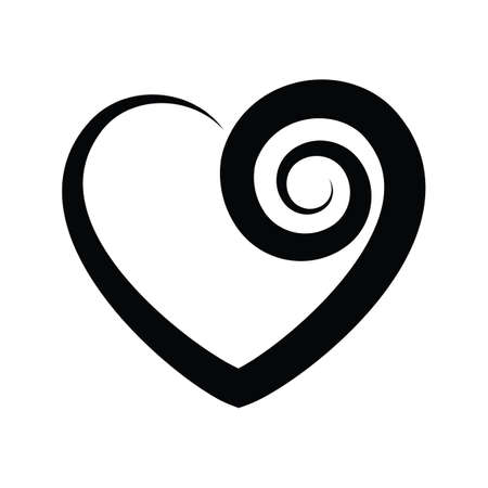 Black and white vector heart icon isolated on white background. Simple love sign or  concept
