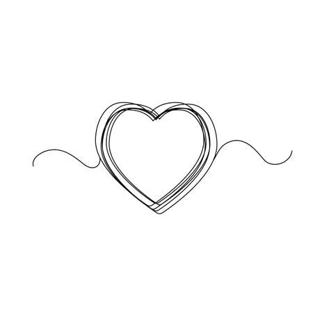 Continuous thin line heart vector illustration, minimalist love sketch doodle. One line art valentine icon, single wedding outline drawing or simple heart Stock Illustratie