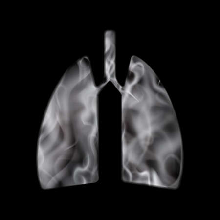 Smoke in lungs vector concept isolated. Vape or cigarette smoke in human lung for tobacco day illustration 矢量图像