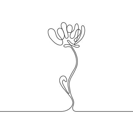 Continuous thin line flower vector illustration, minimalist botanical sketch doodle. One line art flowering blossom icon, single floral outline drawing or simple poppy Vettoriali