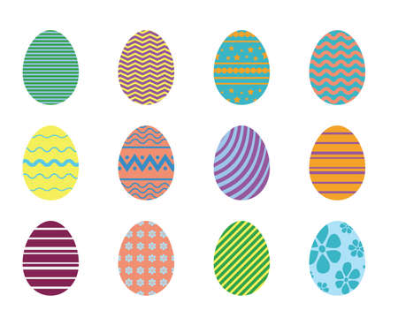 Easter eggs collection with simple geometric pattern. Set of color eggs isolated on white background for Easter design
