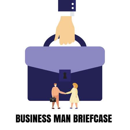 Business man briefcase or businessman bag flat vector illustration. Portfolio symbol with tiny people handshake Stock Illustratie