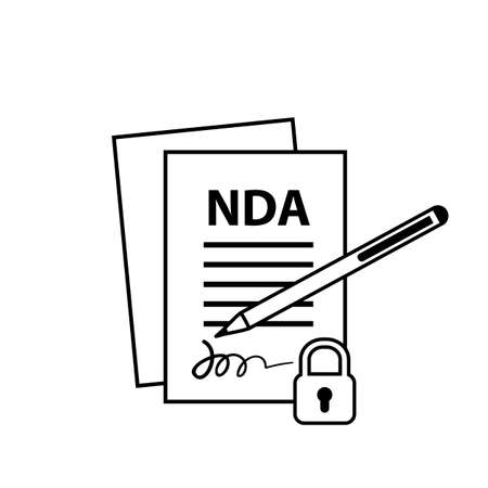 NDA or non-disclosure agreement thin line icon isolated, legal restrictions concept. Nondisclosure or know-how protection vector illustration