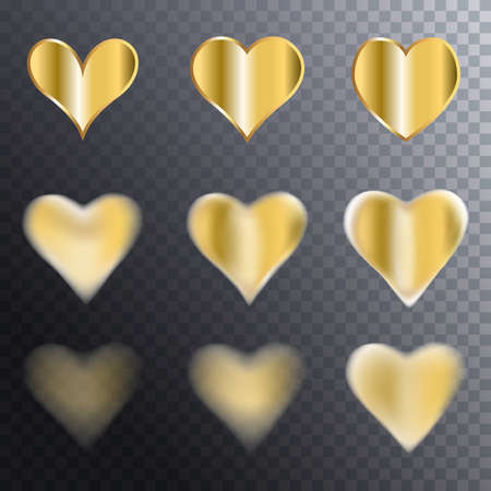 Simple gold heart icon collection on transpatent background. Golden vector hearts with blur, sharpness and clarity collection Иллюстрация