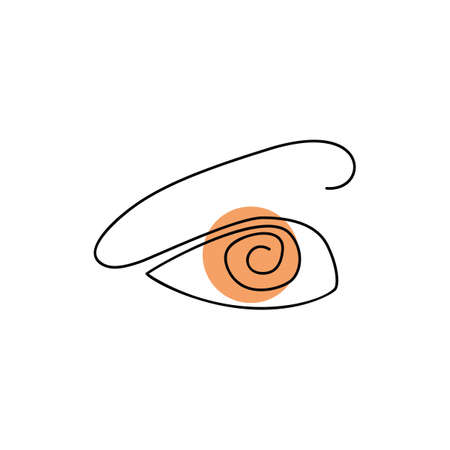 Simple One Line Eye Icon Isolated on White Background. Continuous Drawing Ophthalmologist. Human Eyes Made with Single Lines. Eyeball Creativity Drawing Vector Illustration