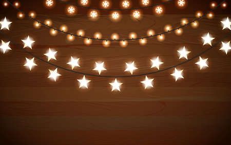 Realistic vector string garland light bulbs with round lamps, stars and snowflake shape lamp. Christmas holiday decorative lights, party garlands