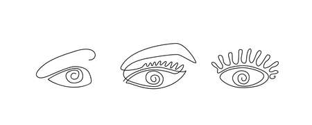 Simple One Line Eye Icon Isolated on White Background. Continuous Drawing Ophthalmologist. Human Eyes Made with Single Lines. Eyeball Creativity Drawing Vector Illustration Collection